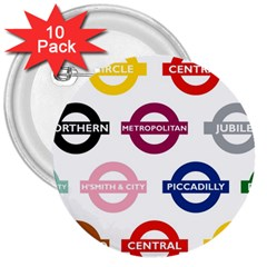 Underground Signs Tube Signs 3  Buttons (10 Pack)