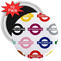 Underground Signs Tube Signs 3  Magnets (10 pack)