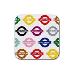 Underground Signs Tube Signs Rubber Square Coaster (4 Pack)