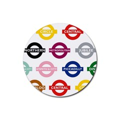 Underground Signs Tube Signs Rubber Round Coaster (4 pack)