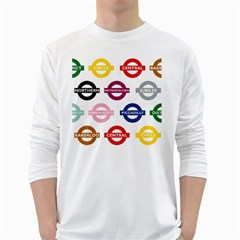 Underground Signs Tube Signs White Long Sleeve T Shirts