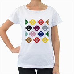 Underground Signs Tube Signs Women s Loose Fit T Shirt (white)