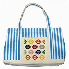 Underground Signs Tube Signs Striped Blue Tote Bag