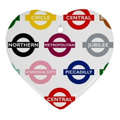 Underground Signs Tube Signs Heart Ornament (two Sides)