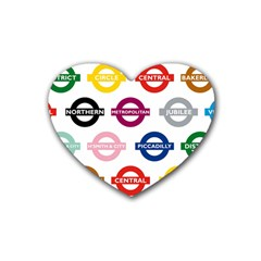 Underground Signs Tube Signs Rubber Coaster (heart)