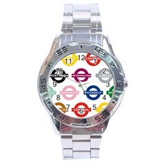 Underground Signs Tube Signs Stainless Steel Analogue Watch