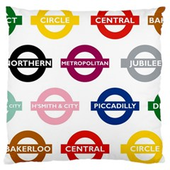 Underground Signs Tube Signs Large Cushion Case (one Side)