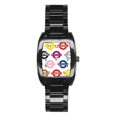 Underground Signs Tube Signs Stainless Steel Barrel Watch