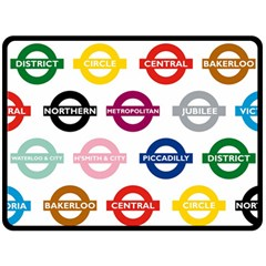 Underground Signs Tube Signs Double Sided Fleece Blanket (Large)