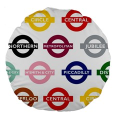 Underground Signs Tube Signs Large 18  Premium Flano Round Cushions