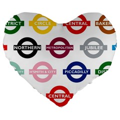 Underground Signs Tube Signs Large 19  Premium Flano Heart Shape Cushions
