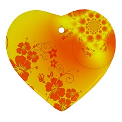 Flowers Floral Design Flora Yellow Ornament (heart)