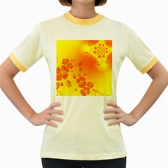 Flowers Floral Design Flora Yellow Women s Fitted Ringer T-Shirts