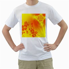 Flowers Floral Design Flora Yellow Men s T-Shirt (White) (Two Sided)