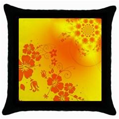 Flowers Floral Design Flora Yellow Throw Pillow Case (Black)