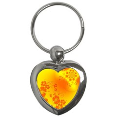 Flowers Floral Design Flora Yellow Key Chains (heart)