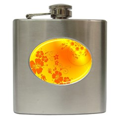 Flowers Floral Design Flora Yellow Hip Flask (6 oz)