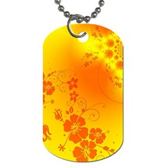 Flowers Floral Design Flora Yellow Dog Tag (two Sides)