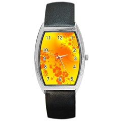 Flowers Floral Design Flora Yellow Barrel Style Metal Watch