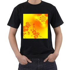 Flowers Floral Design Flora Yellow Men s T-Shirt (Black) (Two Sided)