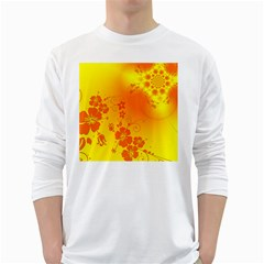 Flowers Floral Design Flora Yellow White Long Sleeve T Shirts