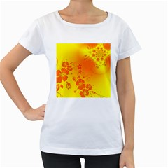 Flowers Floral Design Flora Yellow Women s Loose Fit T Shirt (white)