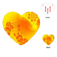Flowers Floral Design Flora Yellow Playing Cards (heart)