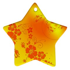 Flowers Floral Design Flora Yellow Star Ornament (Two Sides)