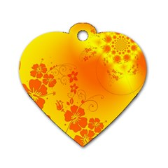 Flowers Floral Design Flora Yellow Dog Tag Heart (two Sides)