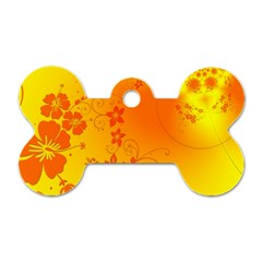 Flowers Floral Design Flora Yellow Dog Tag Bone (two Sides)