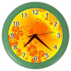 Flowers Floral Design Flora Yellow Color Wall Clocks