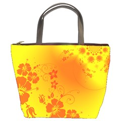Flowers Floral Design Flora Yellow Bucket Bags