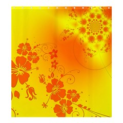 Flowers Floral Design Flora Yellow Shower Curtain 66  X 72  (large)