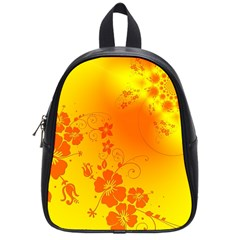 Flowers Floral Design Flora Yellow School Bags (small)