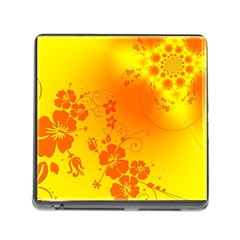 Flowers Floral Design Flora Yellow Memory Card Reader (Square)
