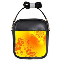 Flowers Floral Design Flora Yellow Girls Sling Bags