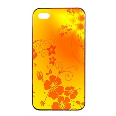 Flowers Floral Design Flora Yellow Apple Iphone 4/4s Seamless Case (black)