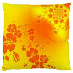 Flowers Floral Design Flora Yellow Large Cushion Case (one Side)