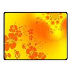 Flowers Floral Design Flora Yellow Double Sided Fleece Blanket (small)