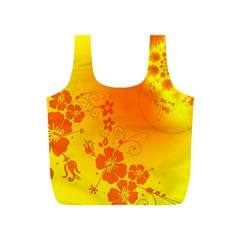 Flowers Floral Design Flora Yellow Full Print Recycle Bags (s)