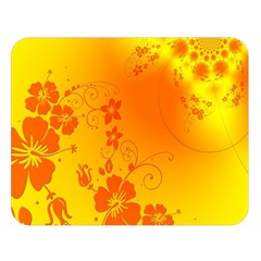 Flowers Floral Design Flora Yellow Double Sided Flano Blanket (large)