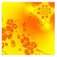 Flowers Floral Design Flora Yellow Large Satin Scarf (square)