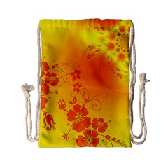 Flowers Floral Design Flora Yellow Drawstring Bag (small)