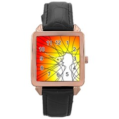 Spirituality Man Origin Lines Rose Gold Leather Watch
