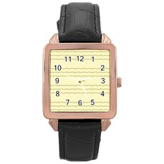 Background Pattern Lines Rose Gold Leather Watch