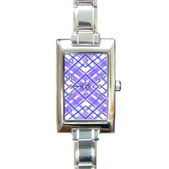 Geometric Plaid Pale Purple Blue Rectangle Italian Charm Watch