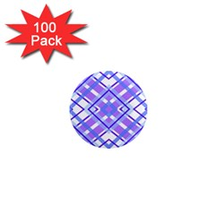 Geometric Plaid Pale Purple Blue 1  Mini Magnets (100 pack)