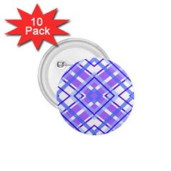 Geometric Plaid Pale Purple Blue 1 75  Buttons (10 Pack)