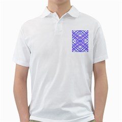 Geometric Plaid Pale Purple Blue Golf Shirts