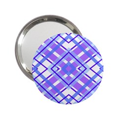 Geometric Plaid Pale Purple Blue 2 25  Handbag Mirrors